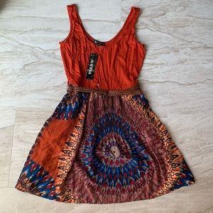 Boho style dress with belt